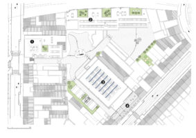 Site plan - 1. Dutch school 2. French School 3. Sports hall 4. Housing