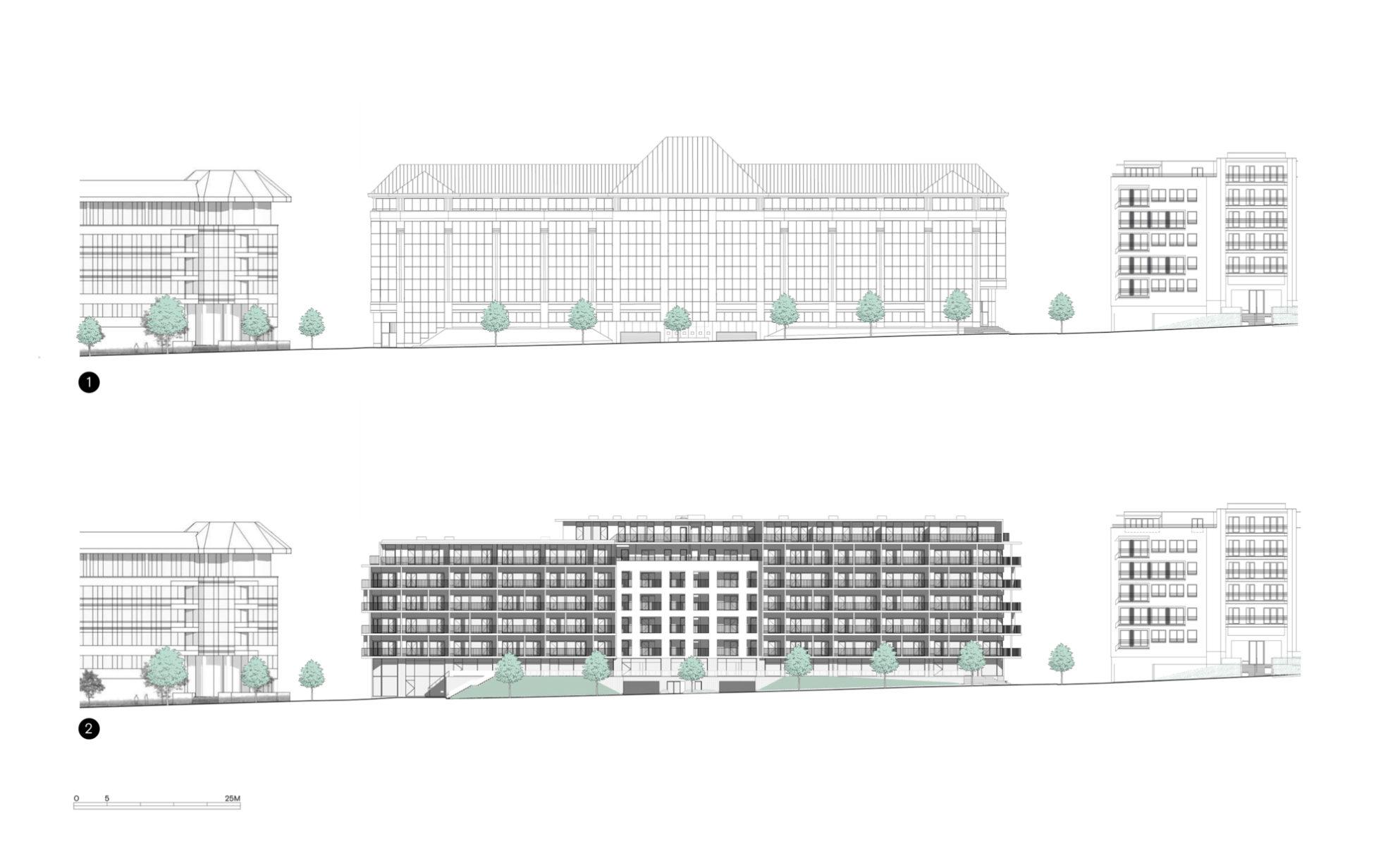 1. Bestaand gebouw     2. Project