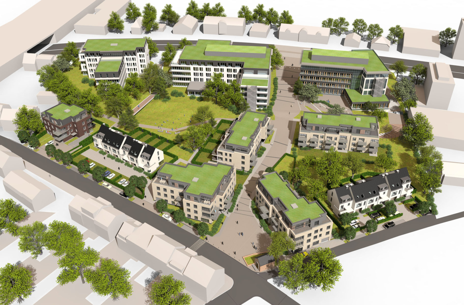 Aerial view of the projects Atradius, Aquilis and Enhaive © Wizywig